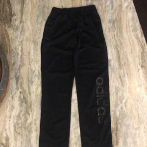 Black Adidas boys warm up pants